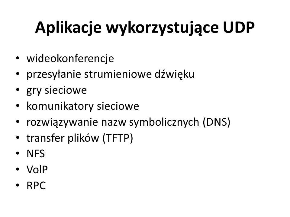 Aplikacje wykorzystujące UDP