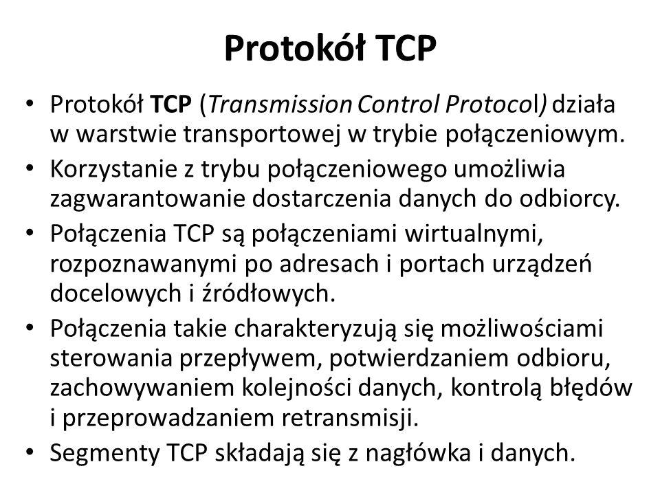 Protokół TCP Protokół TCP (Transmission Control Protocol) działa w warstwie transportowej w trybie połączeniowym.