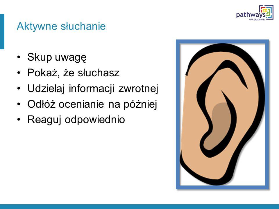 Aktywne słuchanie Skup uwagę. Pokaż, że słuchasz. Udzielaj informacji zwrotnej. Odłóż ocenianie na później.