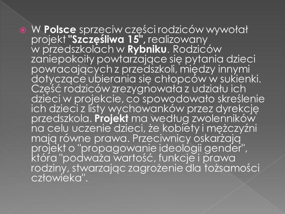 W Polsce sprzeciw części rodziców wywołał projekt Szczęśliwa 15 , realizowany w przedszkolach w Rybniku.