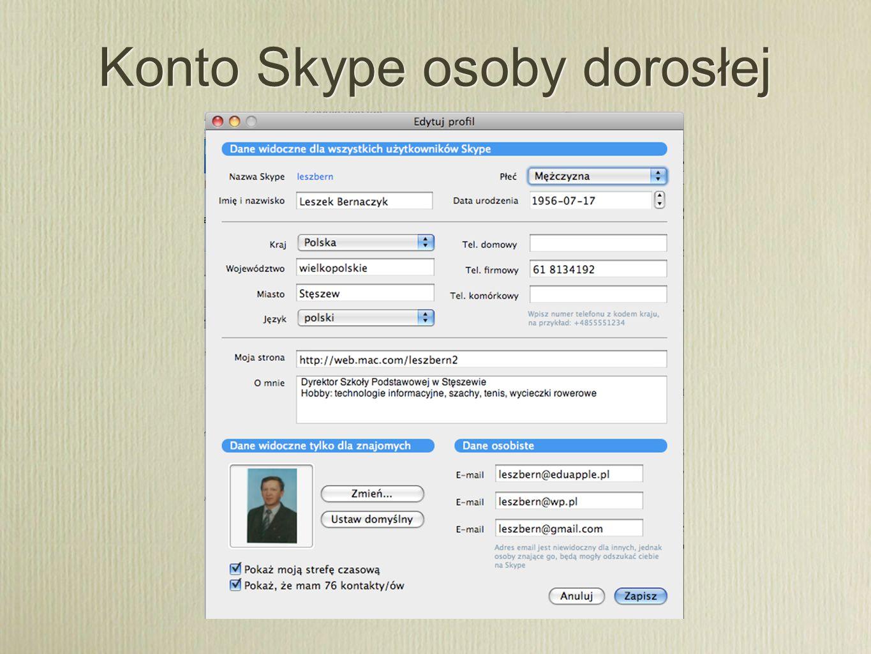 Konto Skype osoby dorosłej