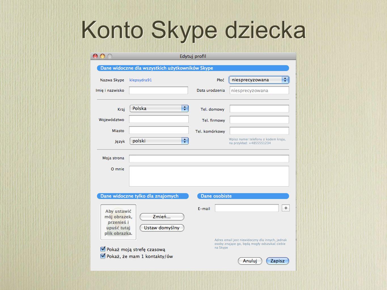 Konto Skype dziecka