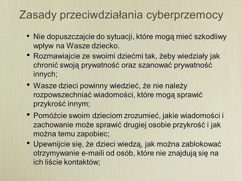 Zasady przeciwdziałania cyberprzemocy
