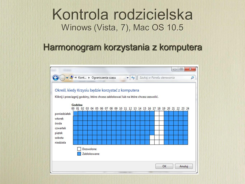 Kontrola rodzicielska Winows (Vista, 7), Mac OS 10.5