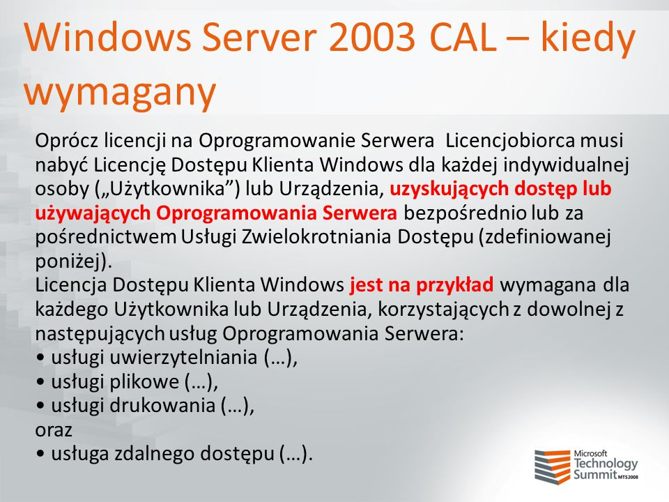 Windows Server 2003 CAL – kiedy wymagany