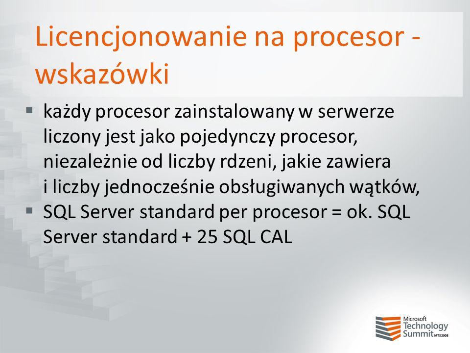 Licencjonowanie na procesor - wskazówki