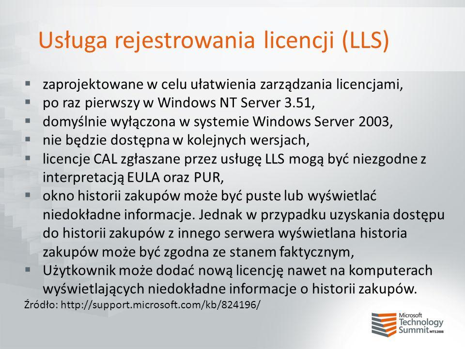Usługa rejestrowania licencji (LLS)
