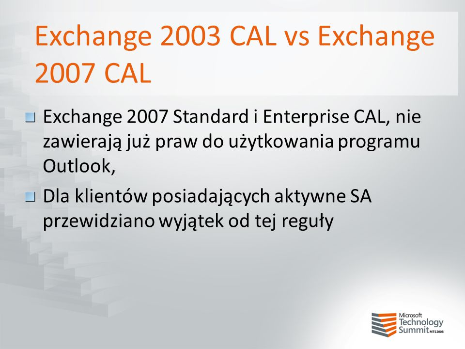 Exchange 2003 CAL vs Exchange 2007 CAL