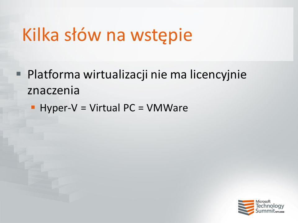 Kilka słów na wstępie Platforma wirtualizacji nie ma licencyjnie znaczenia.