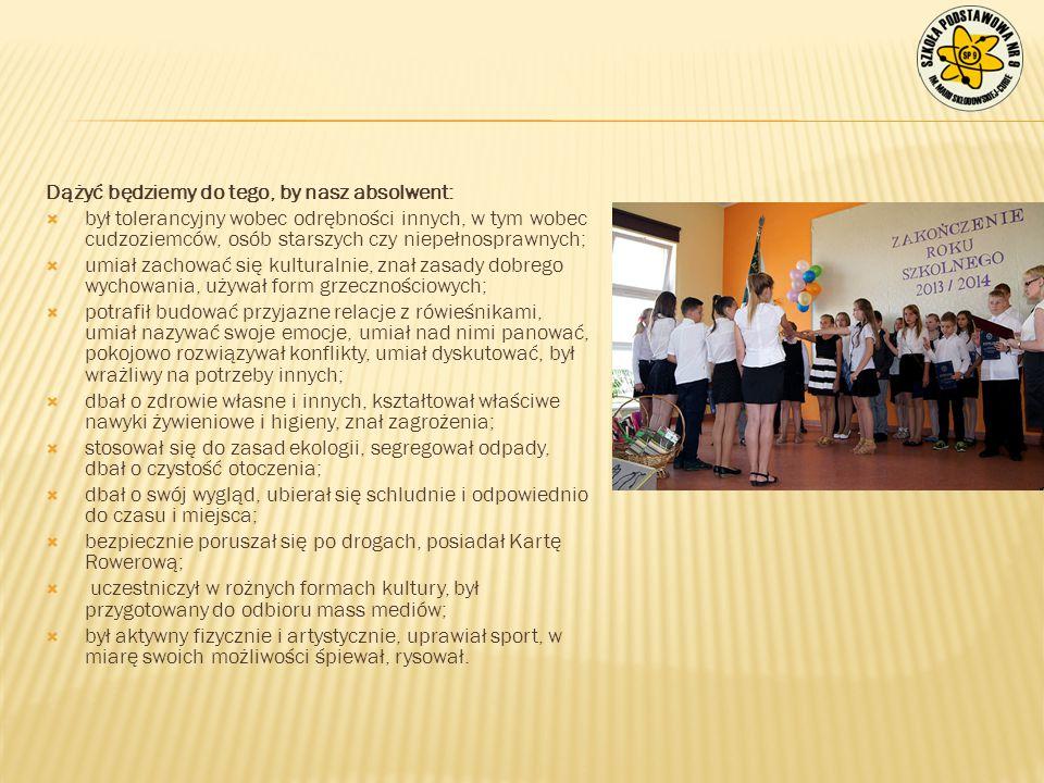 Dążyć będziemy do tego, by nasz absolwent: