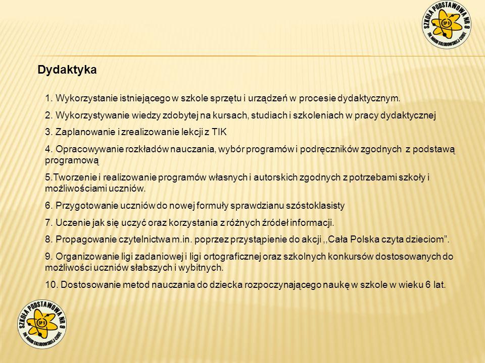 Dydaktyka 1. Wykorzystanie istniejącego w szkole sprzętu i urządzeń w procesie dydaktycznym.