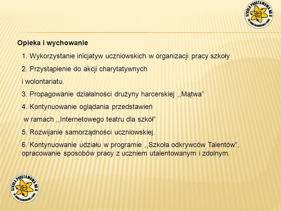 Opieka i wychowanie 1. Wykorzystanie inicjatyw uczniowskich w organizacji pracy szkoły. 2. Przystąpienie do akcji charytatywnych.