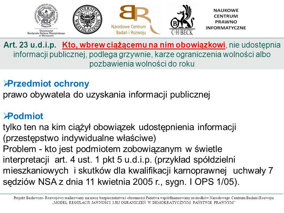 prawo obywatela do uzyskania informacji publicznej Podmiot