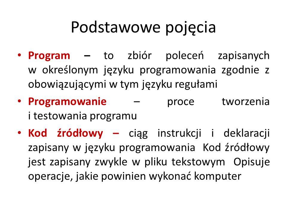 Podstawowe pojęcia Program – to zbiór poleceń zapisanych w określonym języku programowania zgodnie z obowiązującymi w tym języku regułami.