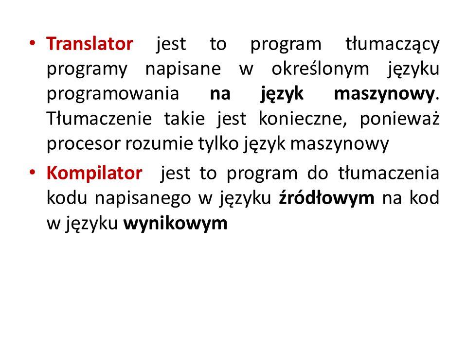 Translator jest to program tłumaczący programy napisane w określonym języku programowania na język maszynowy. Tłumaczenie takie jest konieczne, ponieważ procesor rozumie tylko język maszynowy