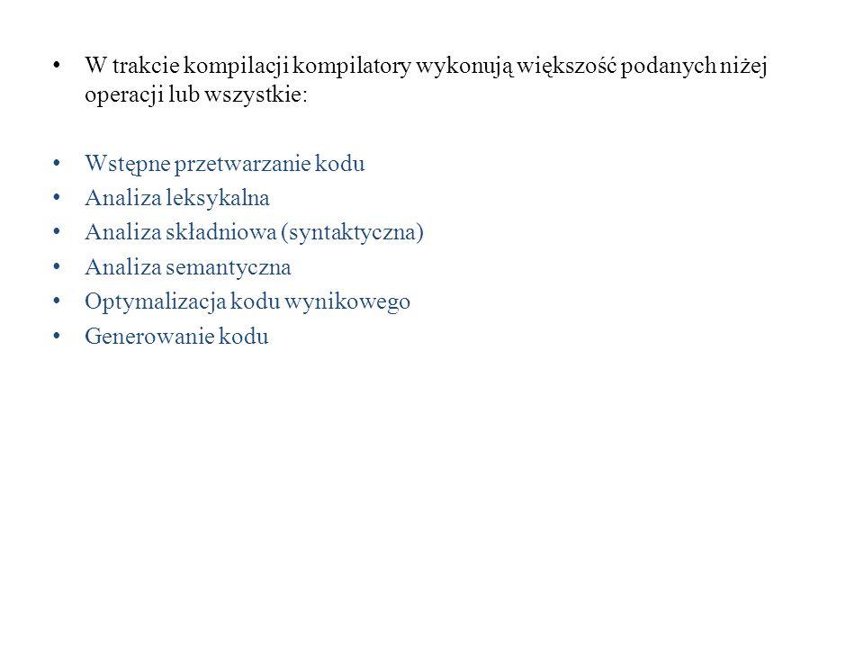 W trakcie kompilacji kompilatory wykonują większość podanych niżej operacji lub wszystkie: