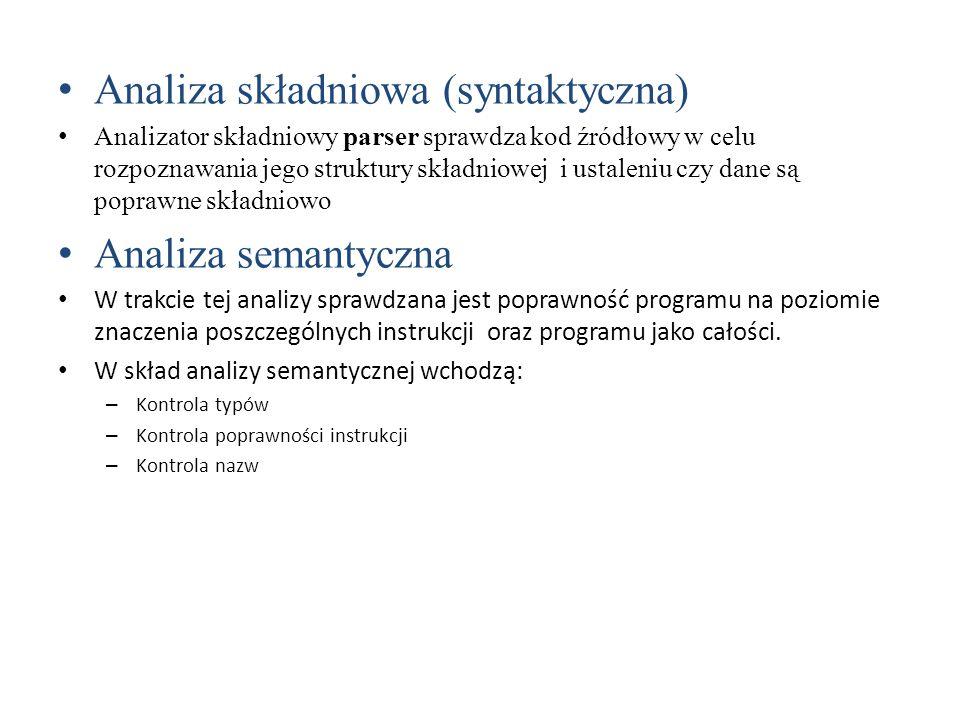 Analiza składniowa (syntaktyczna)