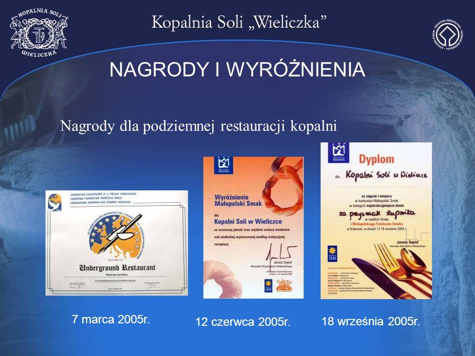 NAGRODY I WYRÓŻNIENIA Nagrody dla podziemnej restauracji kopalni