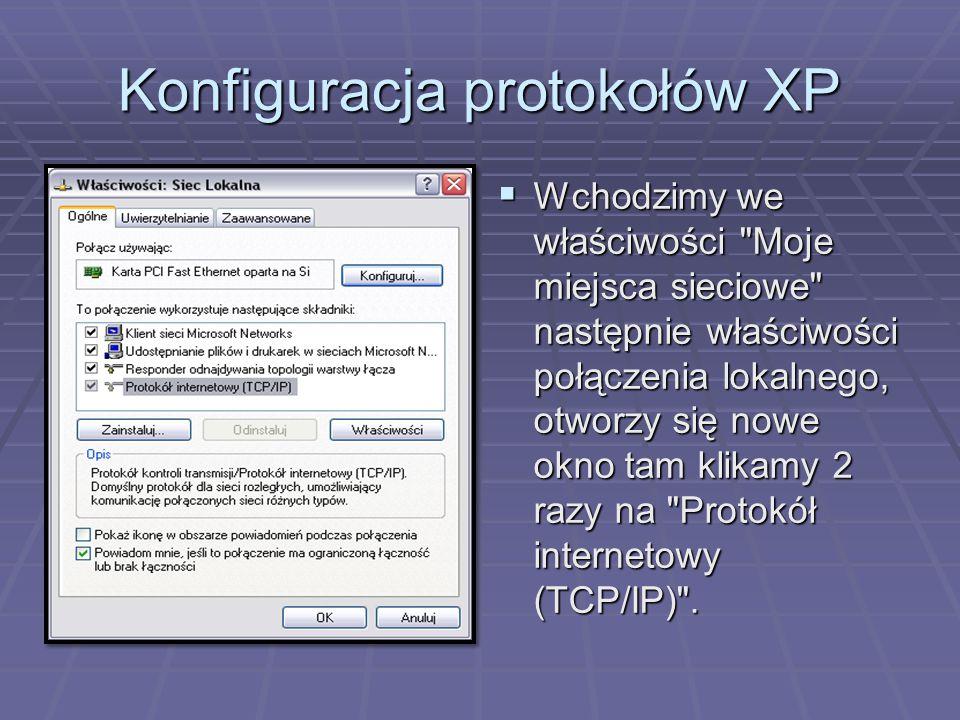 Konfiguracja protokołów XP