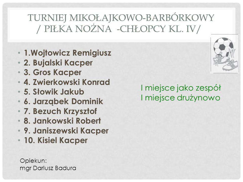 TURNIEJ MIKOŁAJKOWO-BARBÓRKOWY / piłka nożna -chłopcy kl. iV/