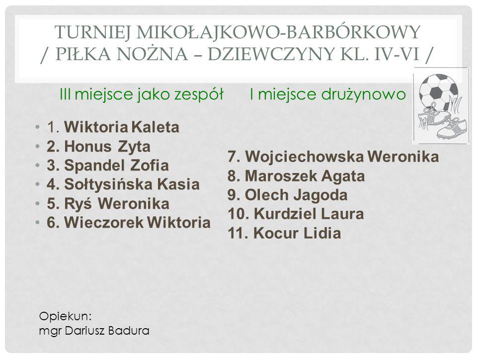 TURNIEJ MIKOŁAJKOWO-BARBÓRKOWY / piłka nożna – dziewczyny kl. IV-VI /