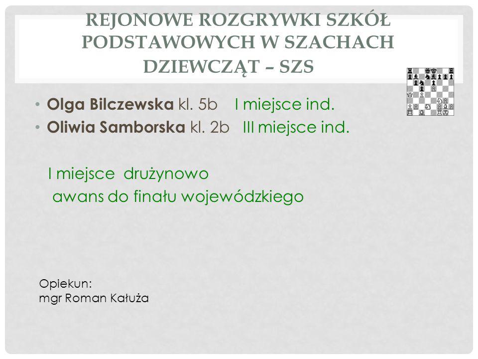 Rejonowe Rozgrywki Szkół Podstawowych w Szachach Dziewcząt – SZS