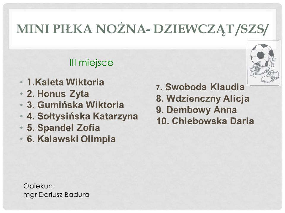 Mini piłka nożna- dziewcząt /SZS/