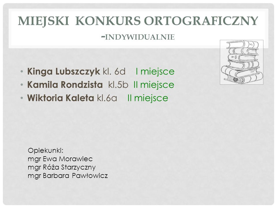 Miejski konkurs ortograficzny -indywidualnIe