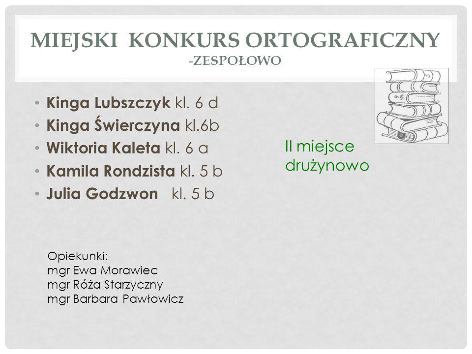 Miejski konkurs ortograficzny -zespołowo