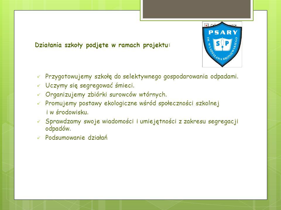 Działania szkoły podjęte w ramach projektu: