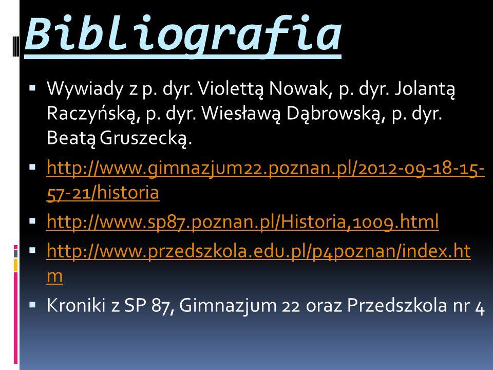 Bibliografia Wywiady z p. dyr. Violettą Nowak, p. dyr. Jolantą Raczyńską, p. dyr. Wiesławą Dąbrowską, p. dyr. Beatą Gruszecką.