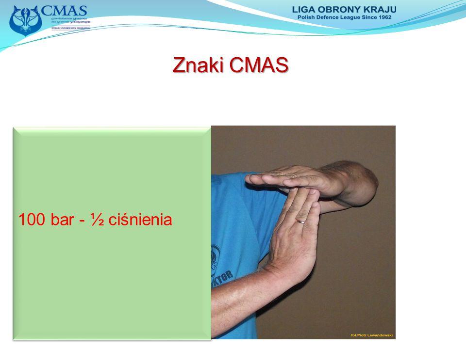 Znaki CMAS 100 bar - ½ ciśnienia