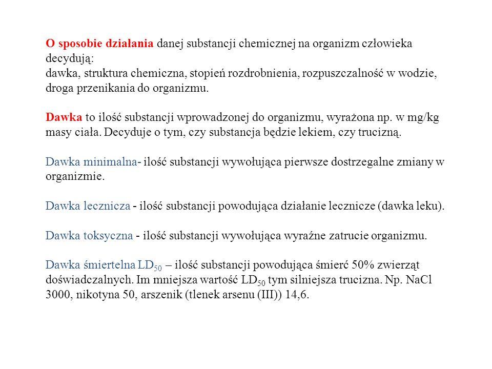 O sposobie działania danej substancji chemicznej na organizm człowieka decydują: