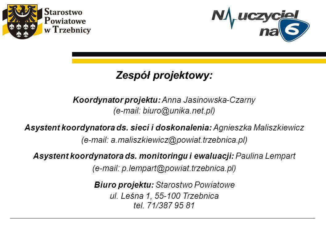 Zespół projektowy: Koordynator projektu: Anna Jasinowska-Czarny