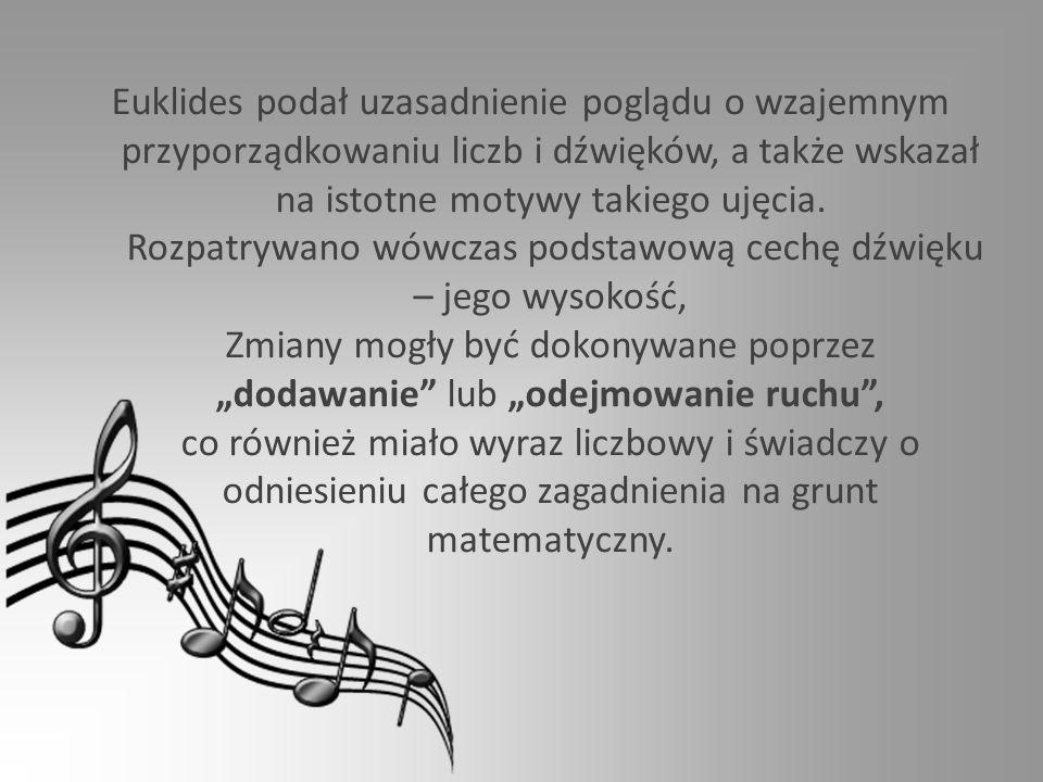 Euklides podał uzasadnienie poglądu o wzajemnym przyporządkowaniu liczb i dźwięków, a także wskazał na istotne motywy takiego ujęcia.