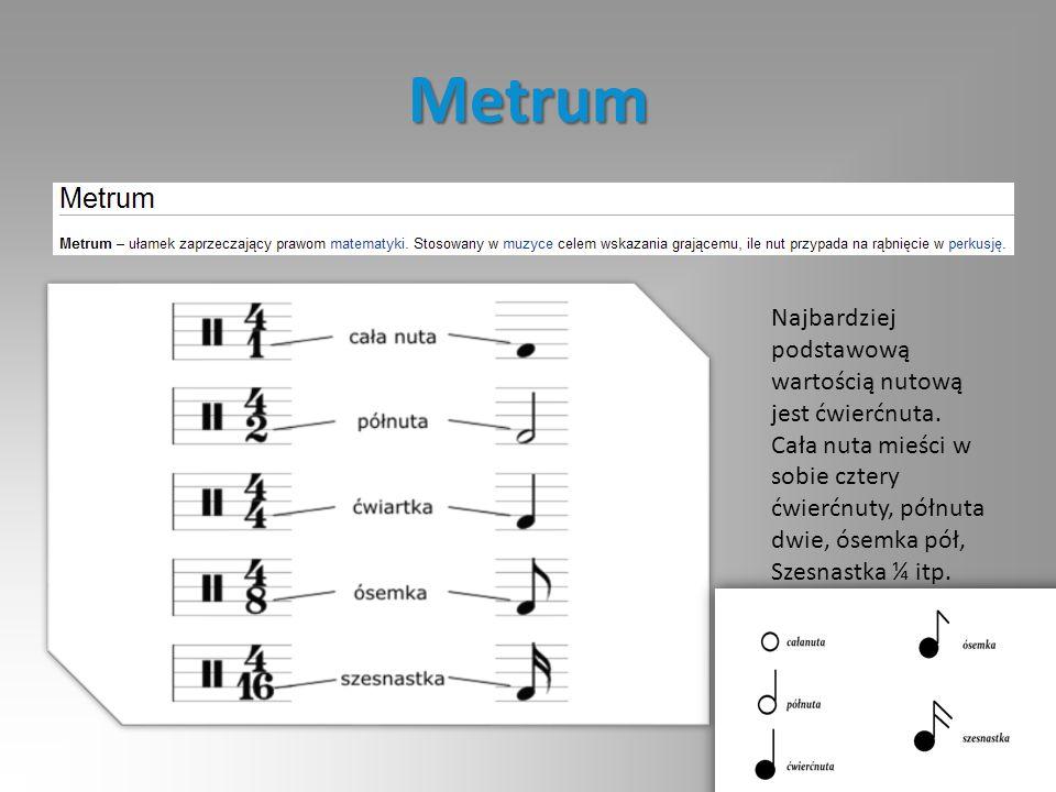 Metrum Najbardziej podstawową wartością nutową jest ćwierćnuta.