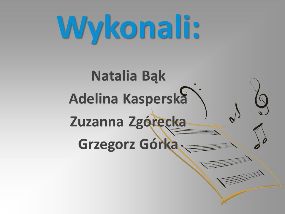 Natalia Bąk Adelina Kasperska Zuzanna Zgórecka Grzegorz Górka