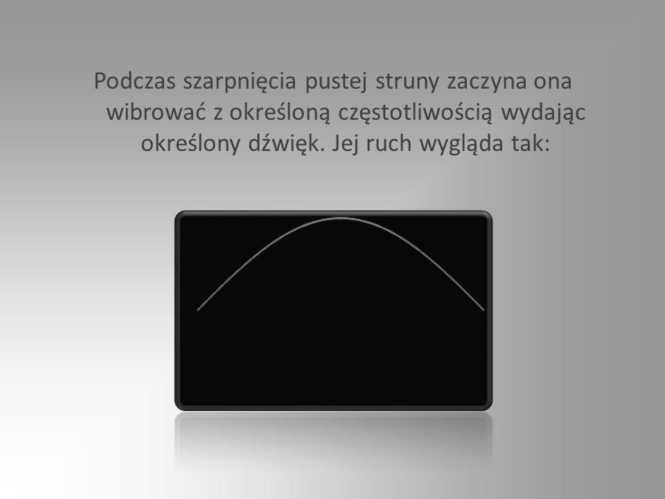 Podczas szarpnięcia pustej struny zaczyna ona wibrować z określoną częstotliwością wydając określony dźwięk.