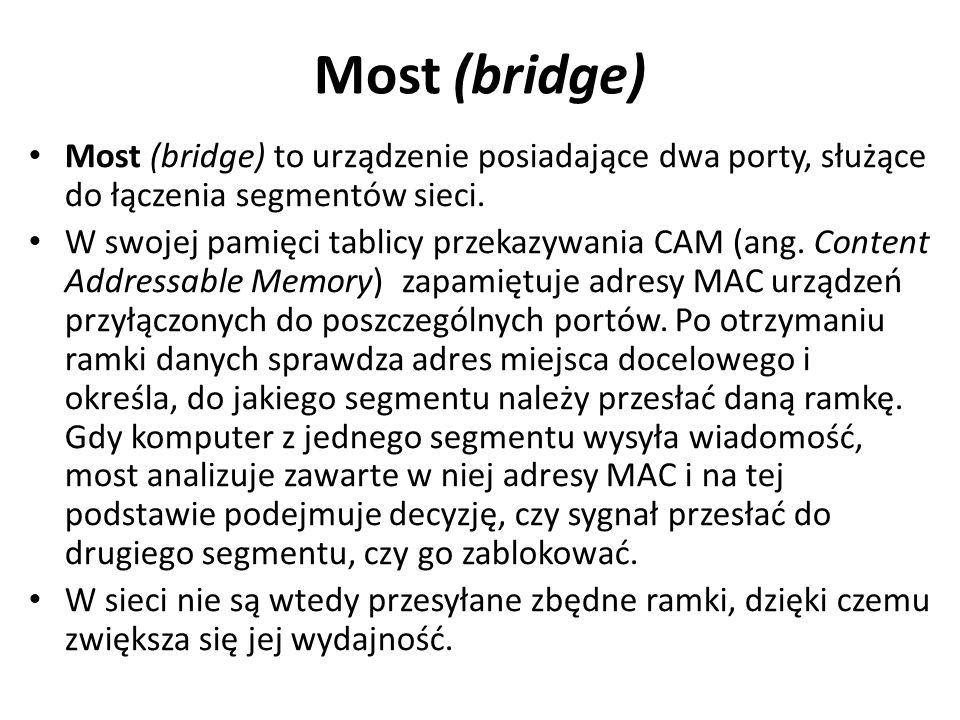 Most (bridge) Most (bridge) to urządzenie posiadające dwa porty, służące do łączenia segmentów sieci.