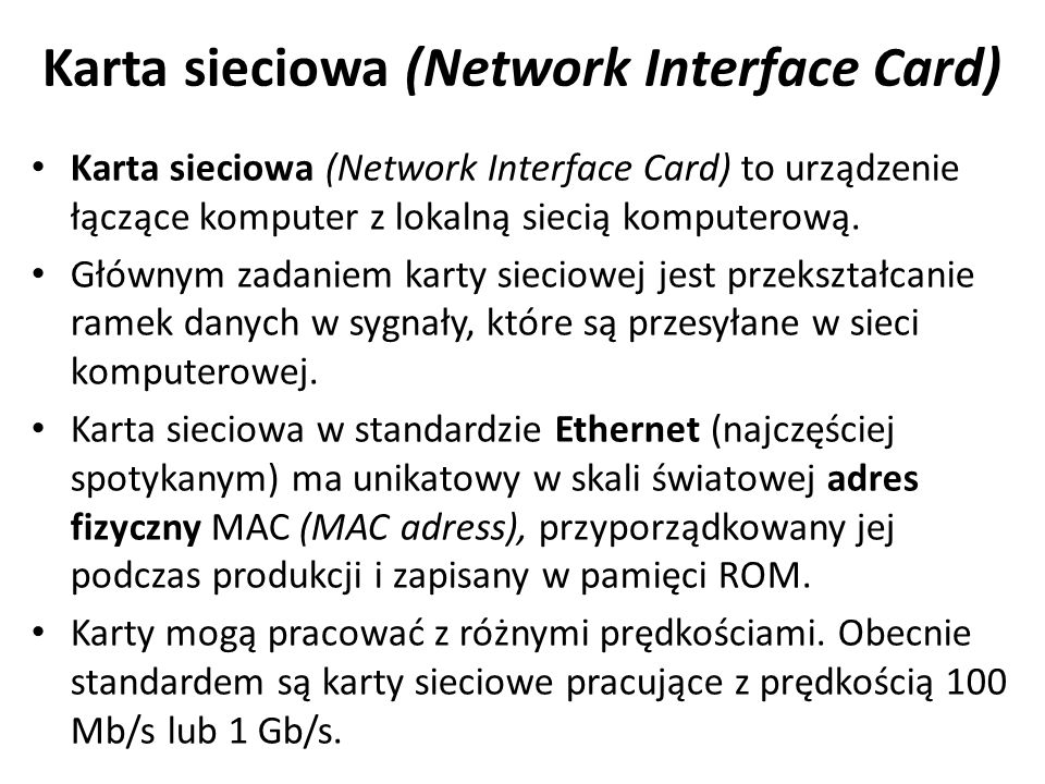 Karta sieciowa (Network Interface Card)