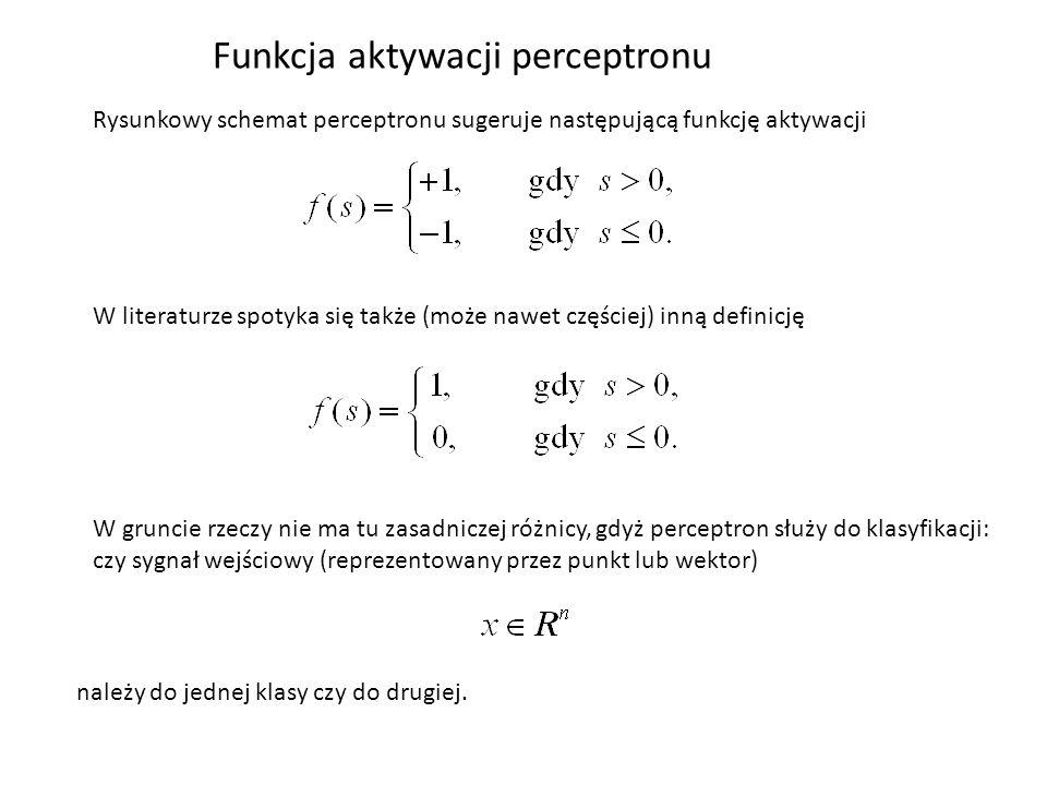 Funkcja aktywacji perceptronu