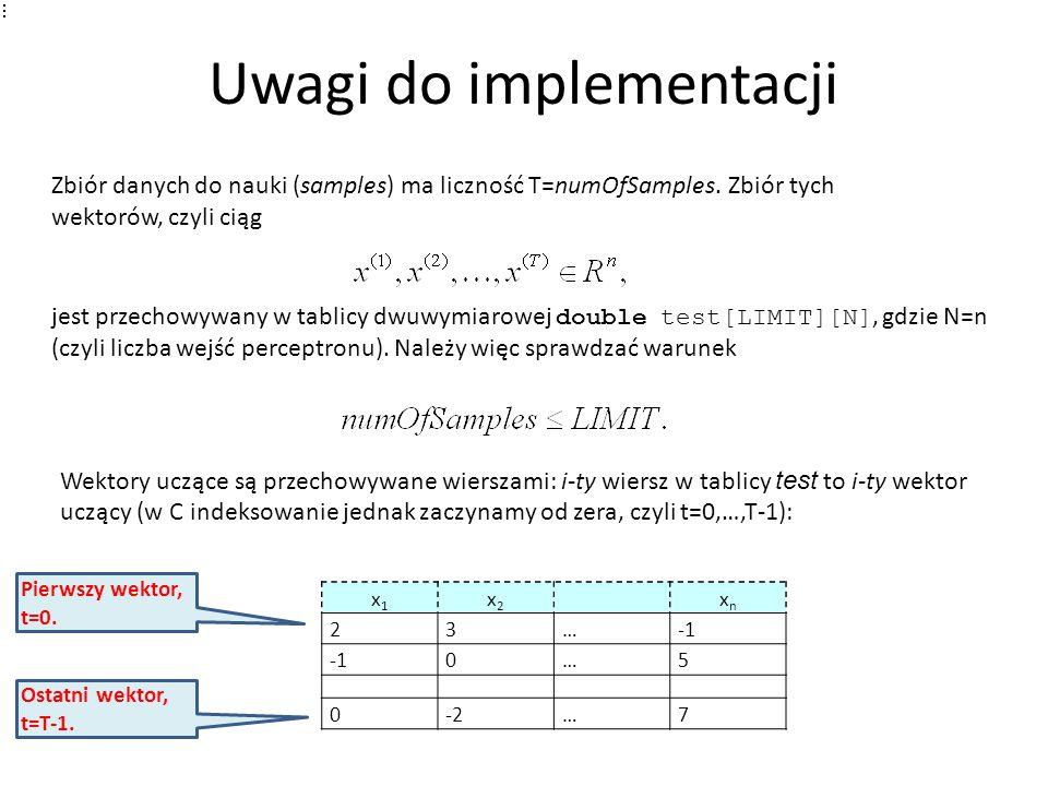 Uwagi do implementacji