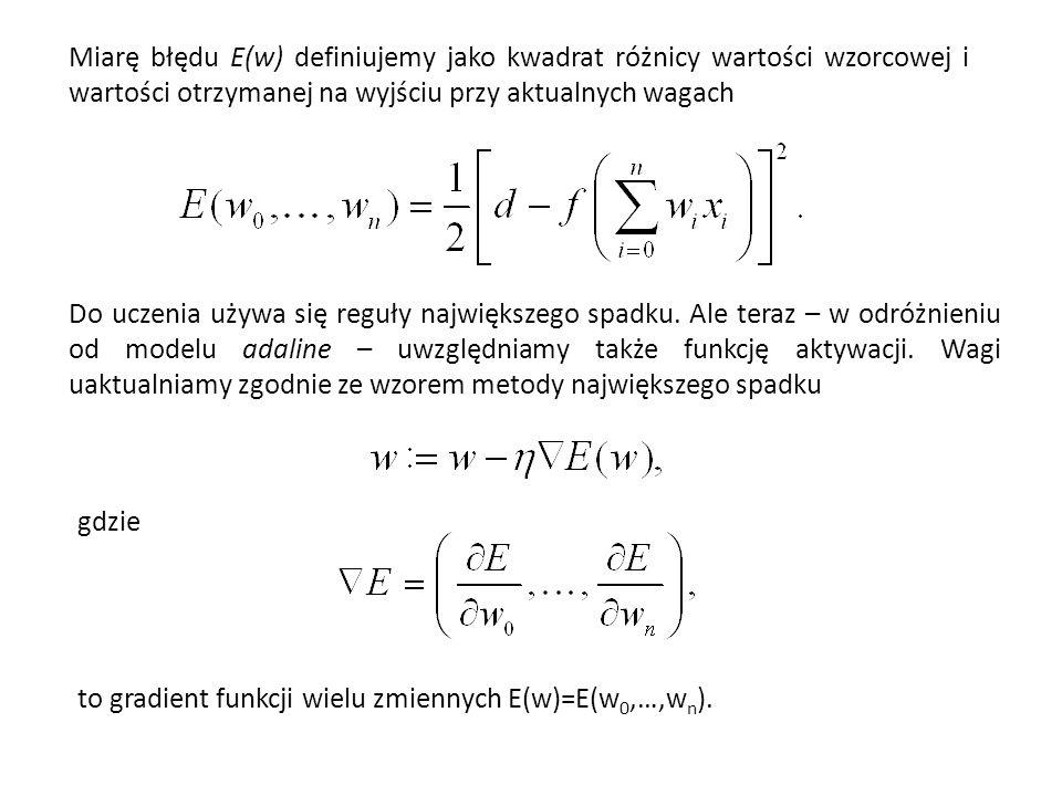 Miarę błędu E(w) definiujemy jako kwadrat różnicy wartości wzorcowej i wartości otrzymanej na wyjściu przy aktualnych wagach