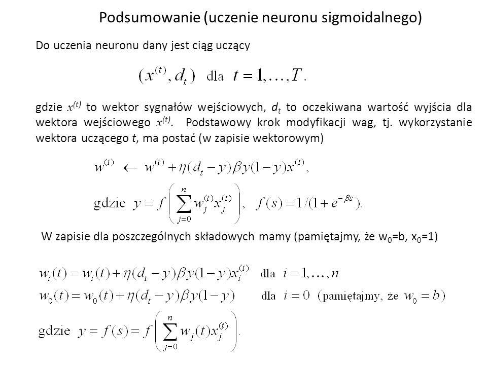 Podsumowanie (uczenie neuronu sigmoidalnego)
