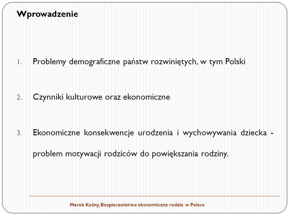Wprowadzenie Problemy demograficzne państw rozwiniętych, w tym Polski. Czynniki kulturowe oraz ekonomiczne.