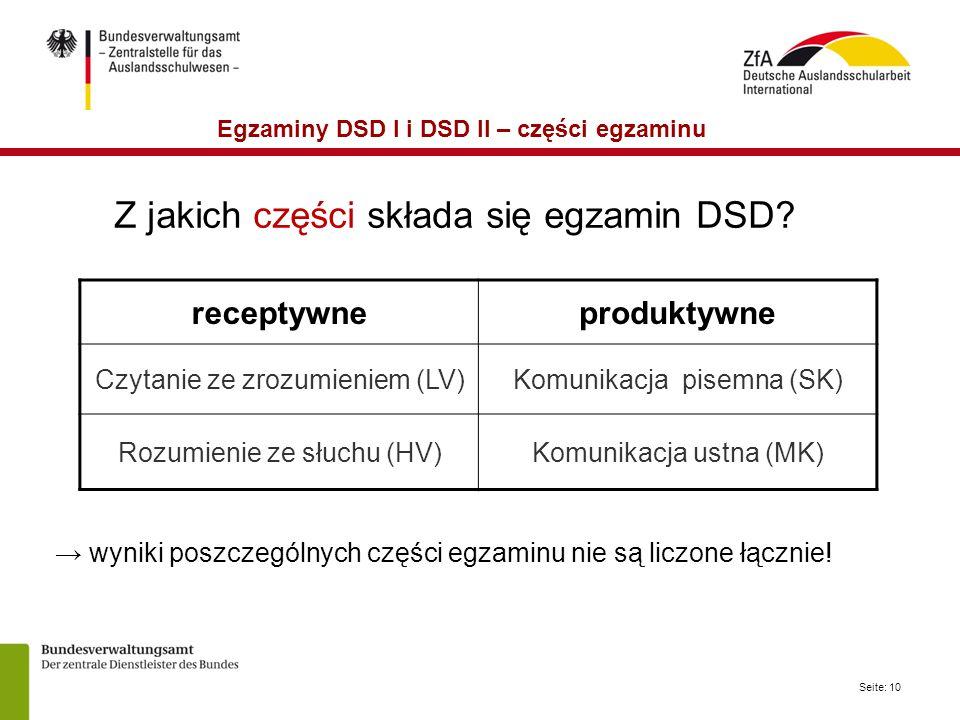 Egzaminy DSD I i DSD II – części egzaminu