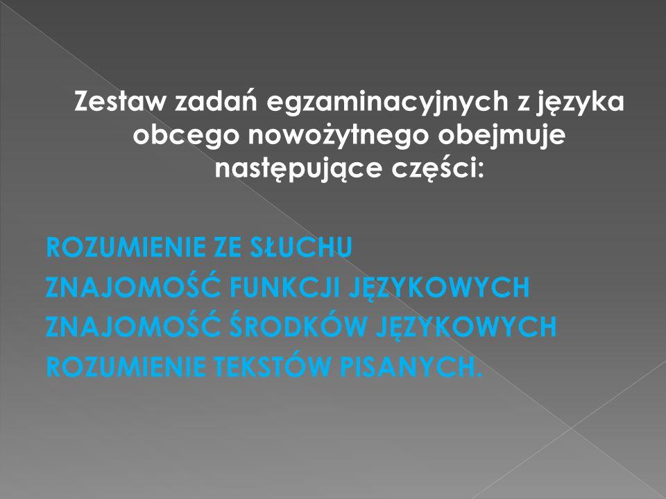 Zestaw zadań egzaminacyjnych z języka obcego nowożytnego obejmuje następujące części: