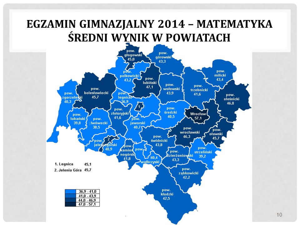 egzamin gimnazjalny 2014 – matematyka Średni wynik w powiatach