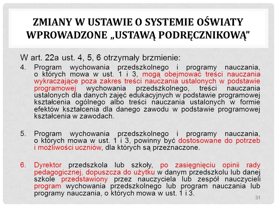 """Zmiany w ustawie o systemie oświaty wprowadzone """"ustawą podręcznikową"""