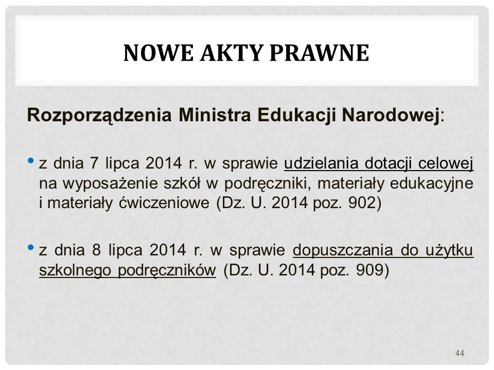 Nowe akty prawne Rozporządzenia Ministra Edukacji Narodowej: